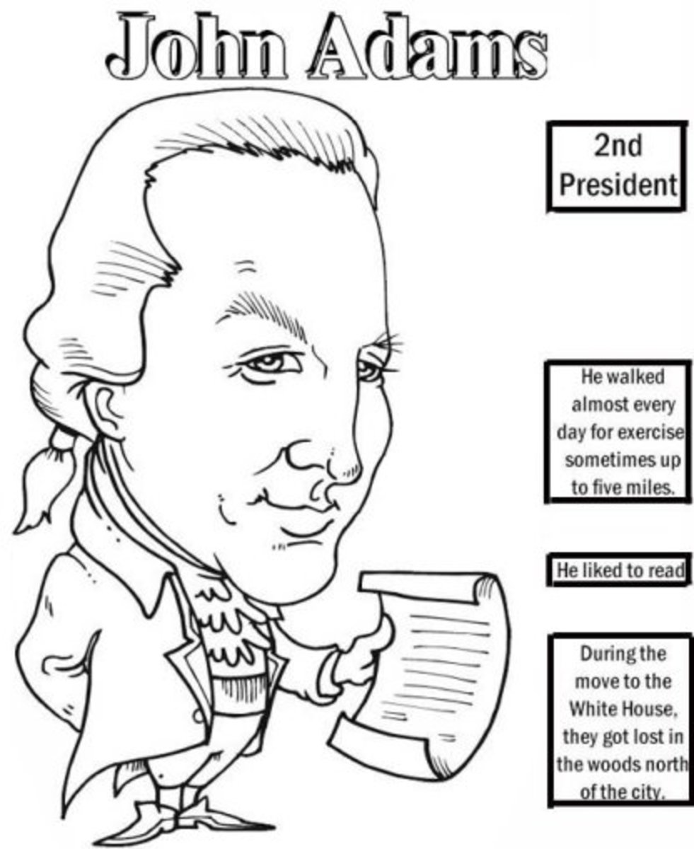 American Presidents John Adams Coloring Pages and