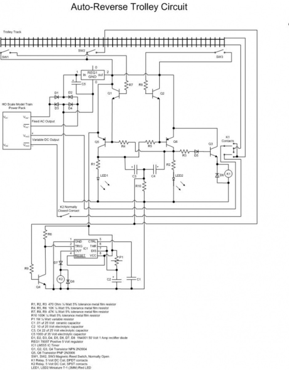Auto-reverse HO trolley circuit