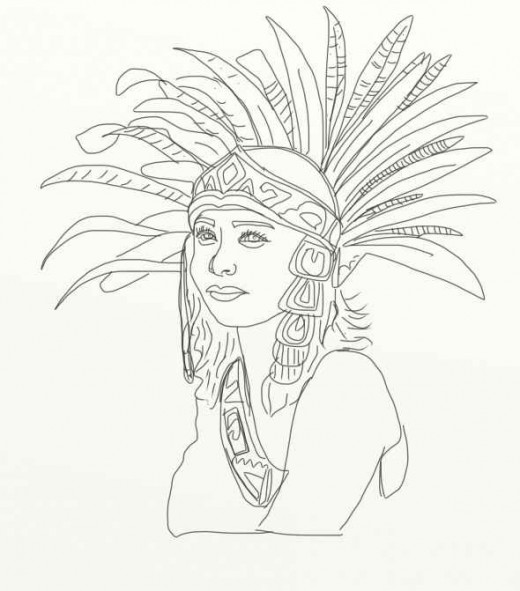 Aztec Headdress Drawing Sketch Coloring Page