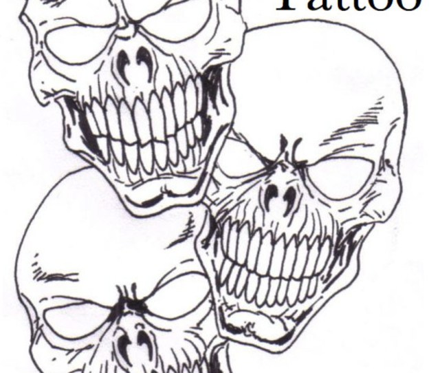 Skull Tattoo Concept Drawing By Wayne Tully