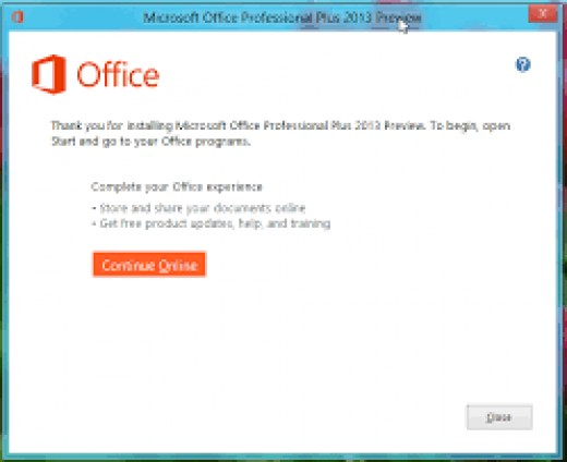 Microsoft Install Screen after www.office.com/setup is done verifying key