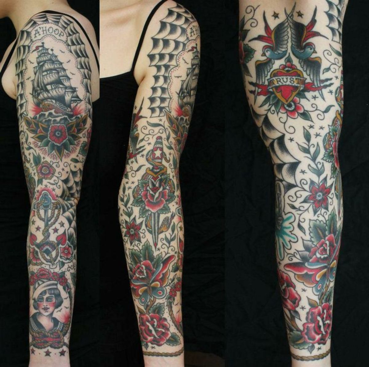 American Traditional Tattoo Full Sleeve