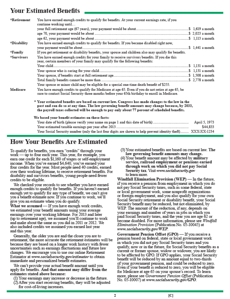Social Security Benefit Worksheet