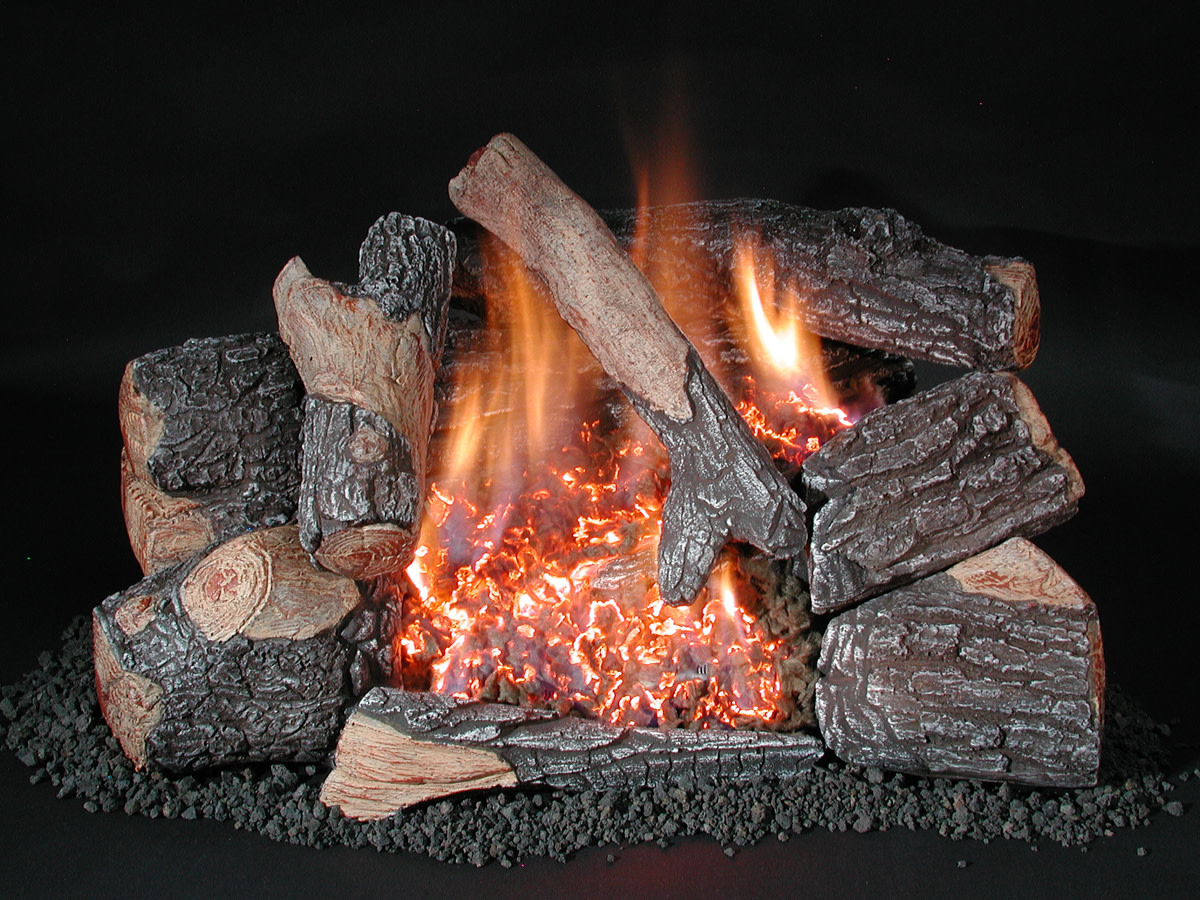 Vented gas logs and ventless gas fireplace alternative