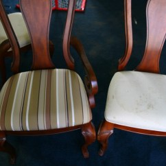 How Much Fabric Do I Need To Reupholster A Chair Posture Support Desk Dining Room An Easy Home Improvement Give Old Stained Chairs Spiffy New Look With Upholstery Reupholstering