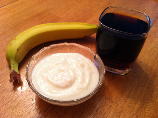 Ingredients for a Banana Coffee smoothie.