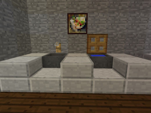 This Is A Minecraft House Living Room Design With Bookshelves And Water Behind
