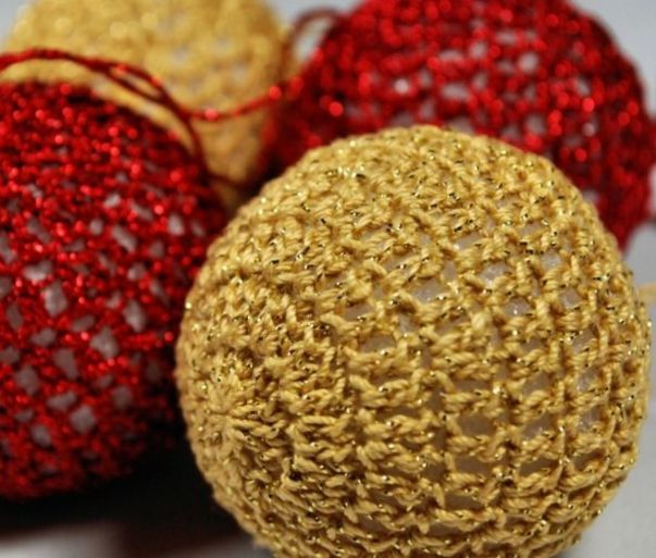 Crochet Covered Christmas Ornaments