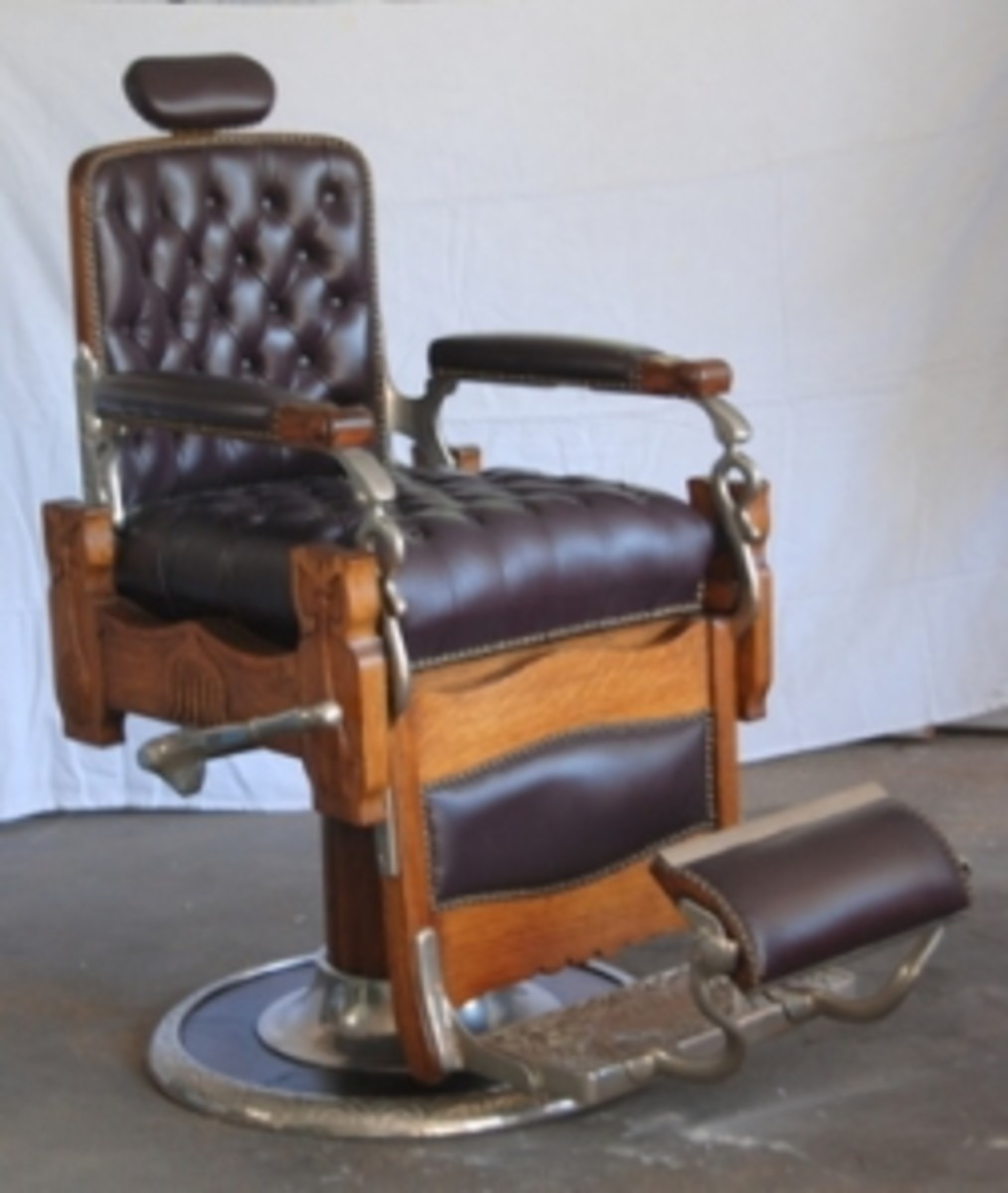 antique wood barber chair patterned dining room chairs koken hubpages