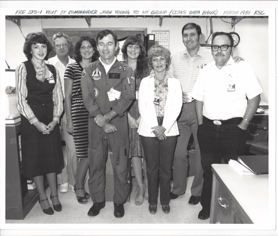Astronaut John Young (walked on the moon) posing with Jim's Shuttle data group just days before he and Bob Crippen were launched in April 1981 on the very first Shuttle flight known as STS-1.