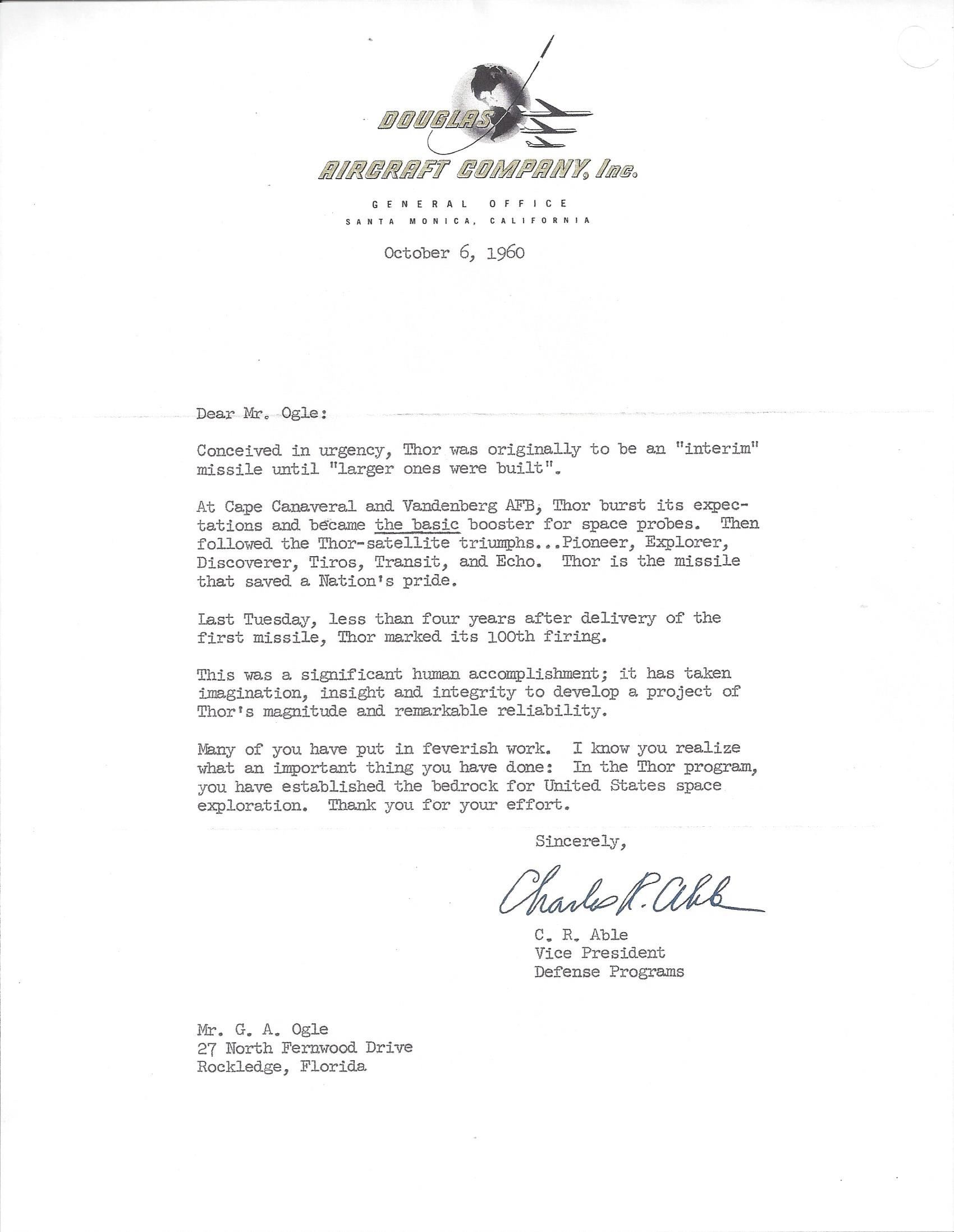 Letter of congratulations from Douglas Aircraft Company on the 100th launch of the Thor missile which Douglas built.