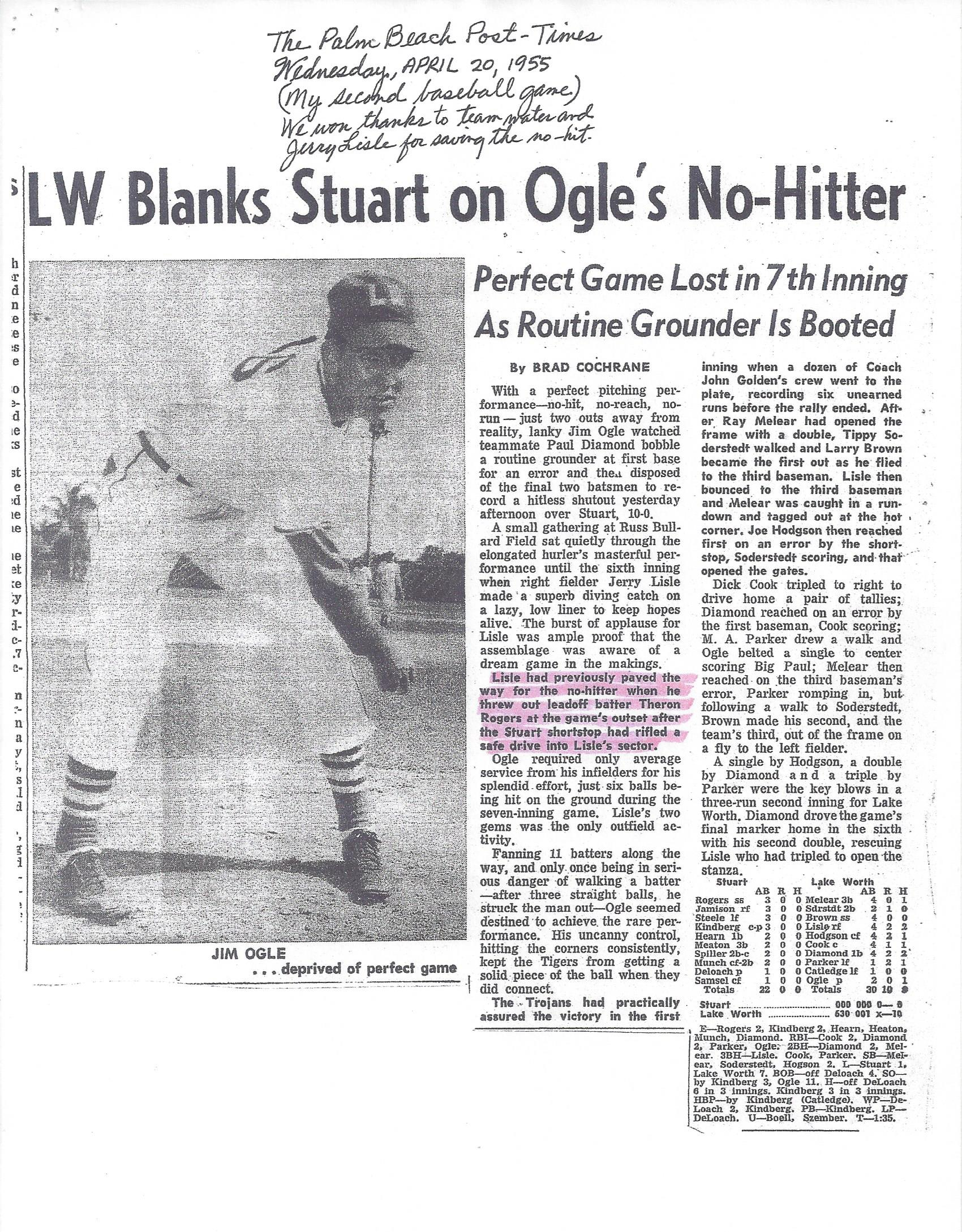 Newspaper clipping of Jim's NO-HITTER he pitched for his high school's baseball team.