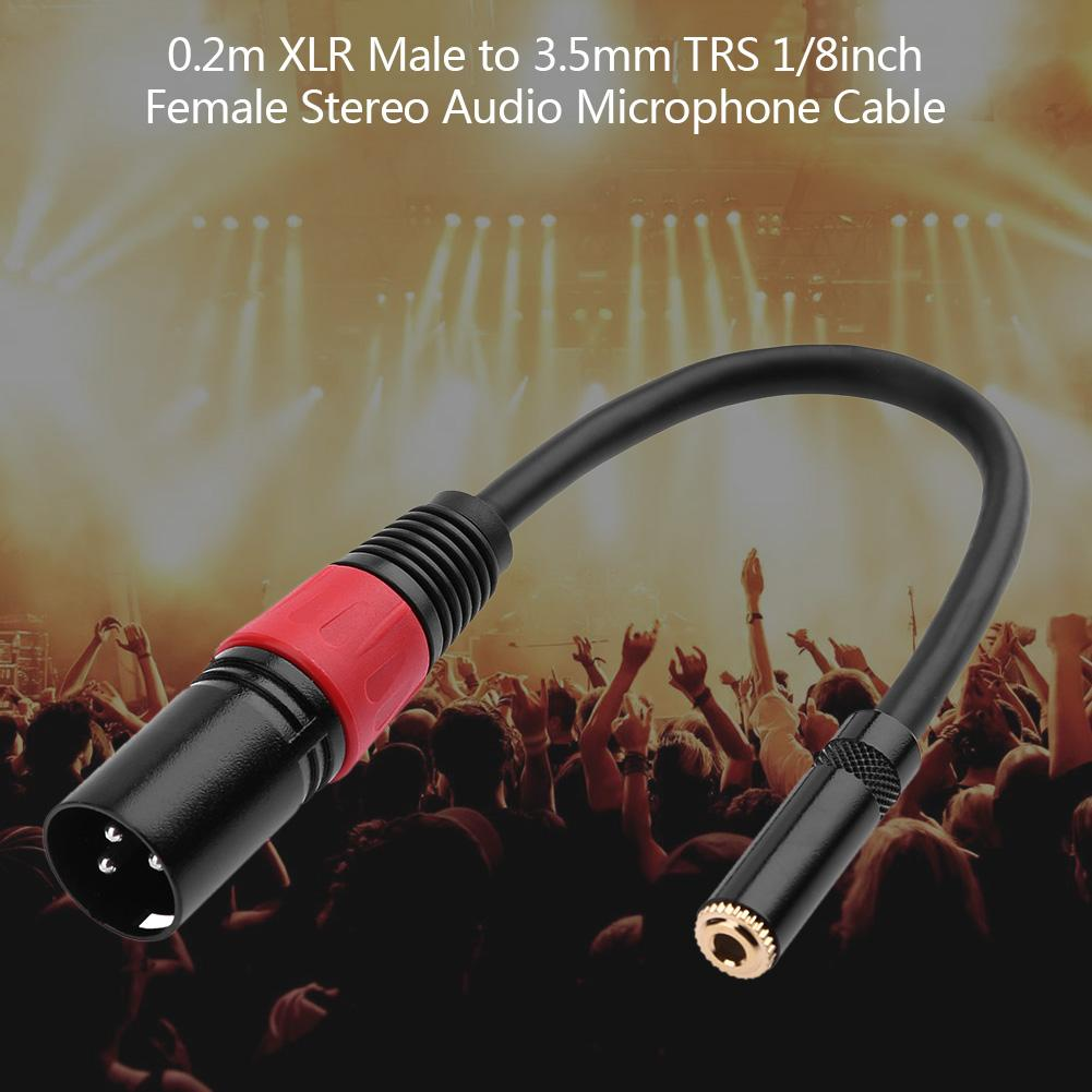 hight resolution of details about xlr 3 pin male to 3 5mm trs 1 8inch female stereo audio microphone cable wire