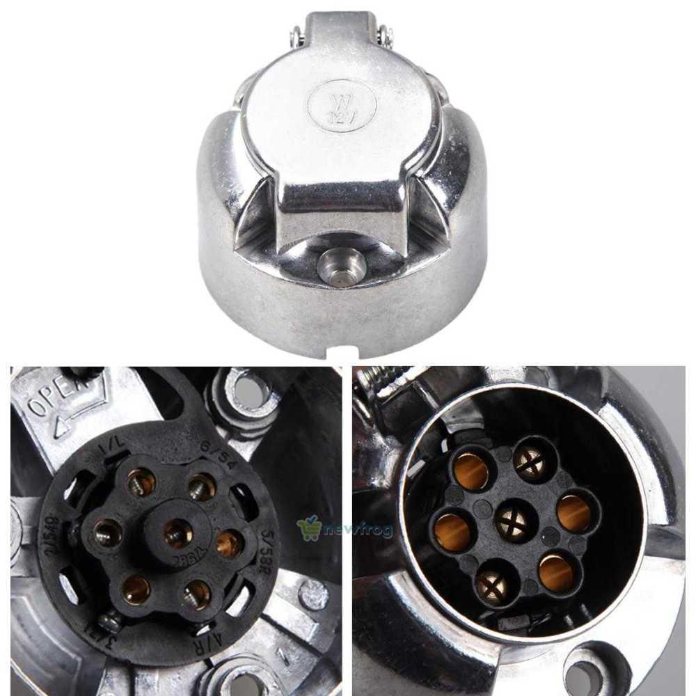 medium resolution of details about 7 pin trailer car caravan wiring lights round metal socket plug 12v volt n type