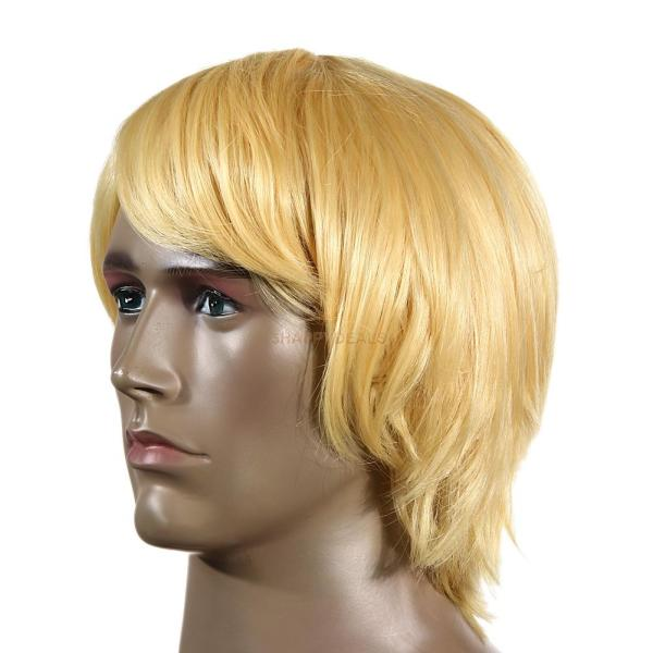 Men' Yellow Male Short Wavy Wig Halloween Cosplay