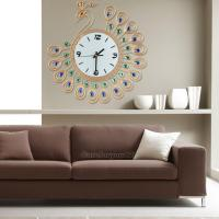 Luxury Diamond Peacock Large Wall Clocks Metal Living Room ...