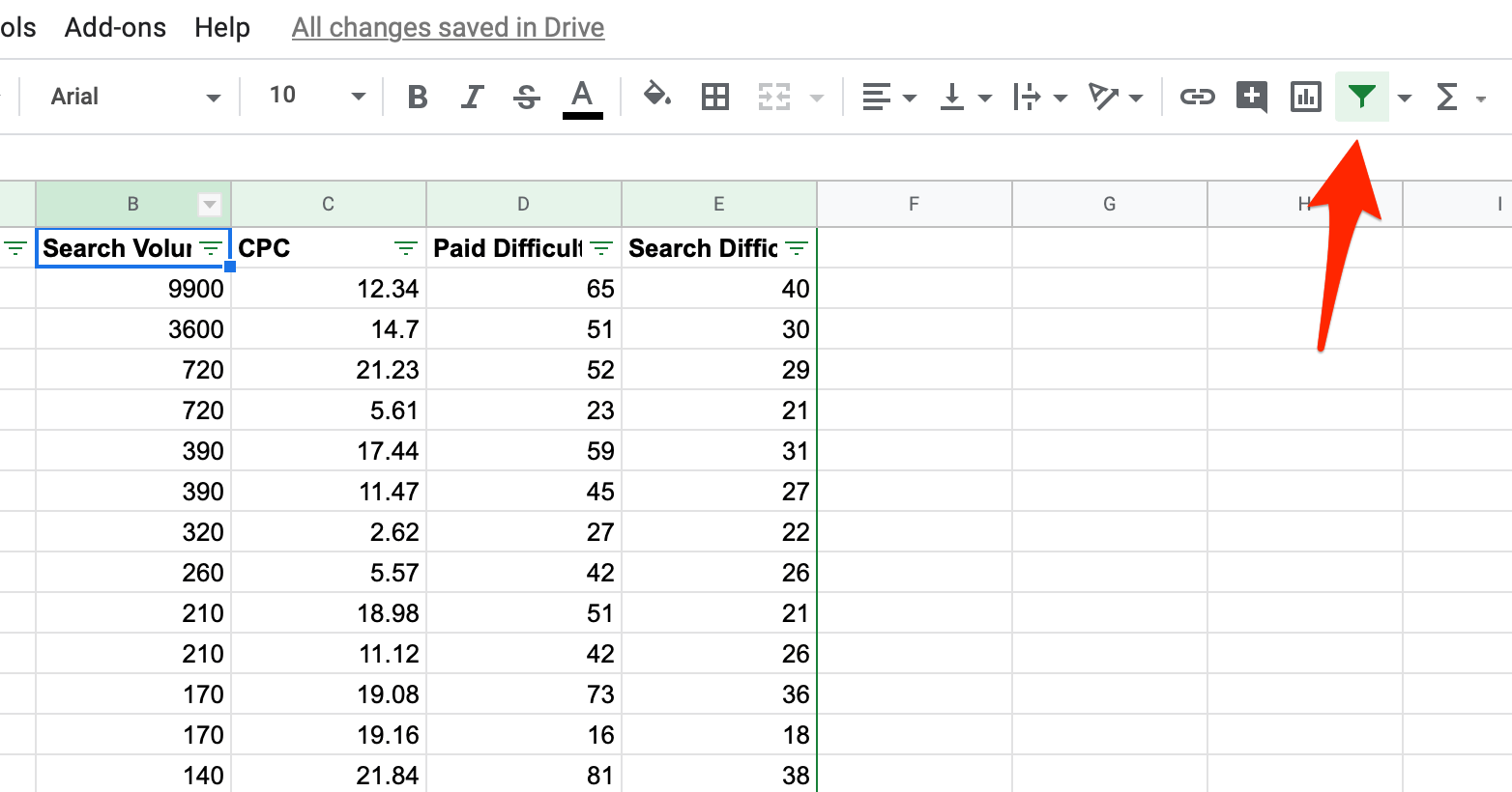 Creating filters for keyword data in Google Sheets