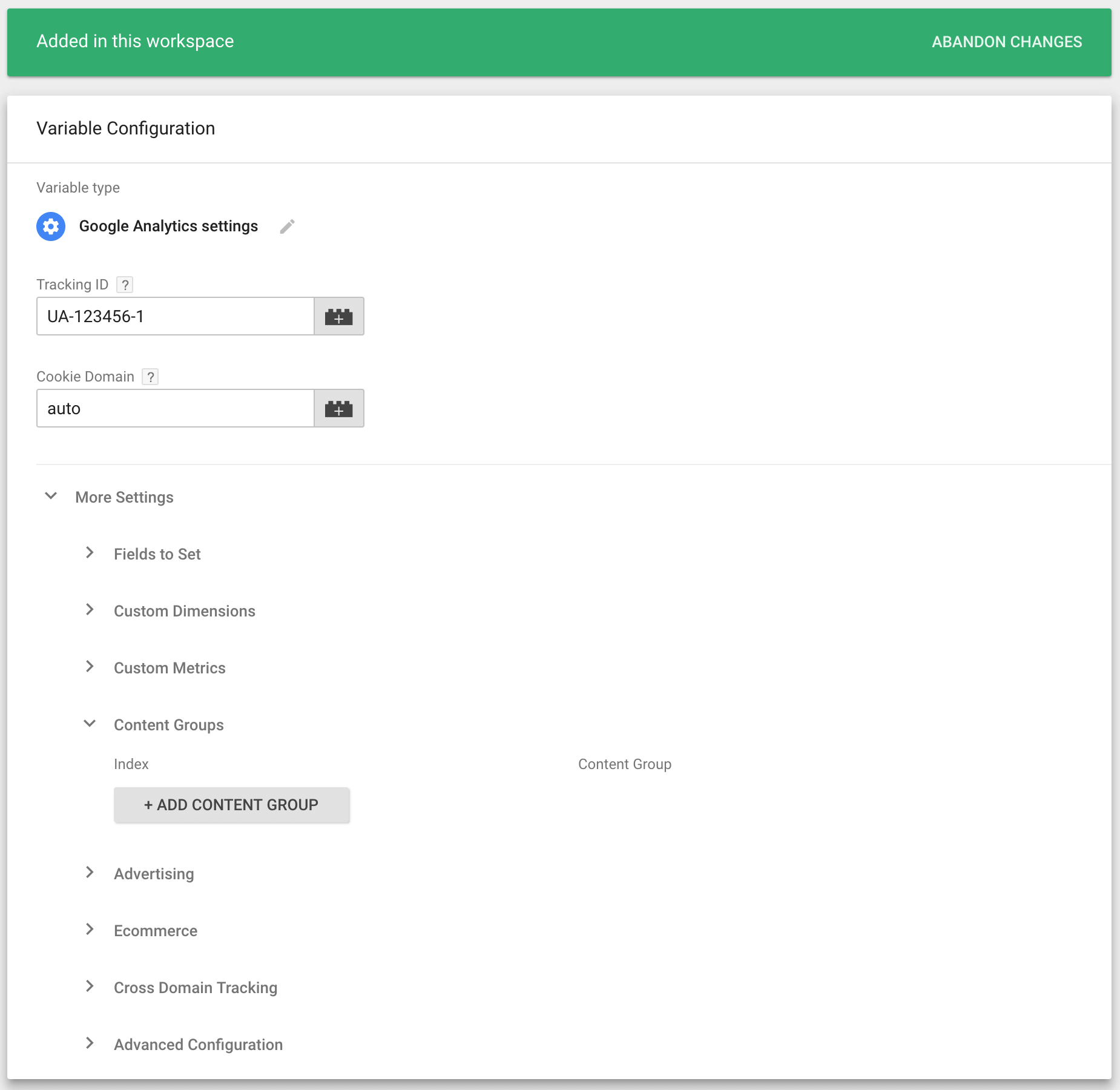 Adding Content Grouping in Google Tag Manager