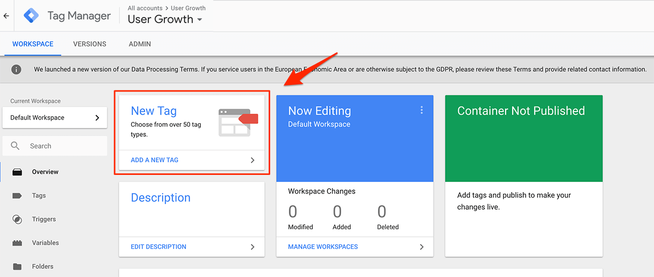 Creating a Google Tag Manager account step 2 adding tags