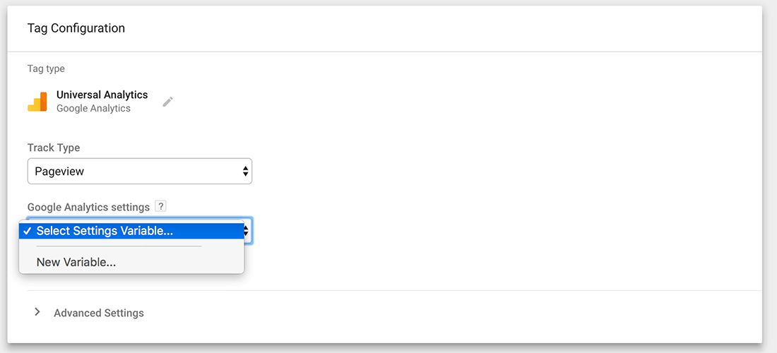 Creating a Google Tag Manager account step 4 tag configuration