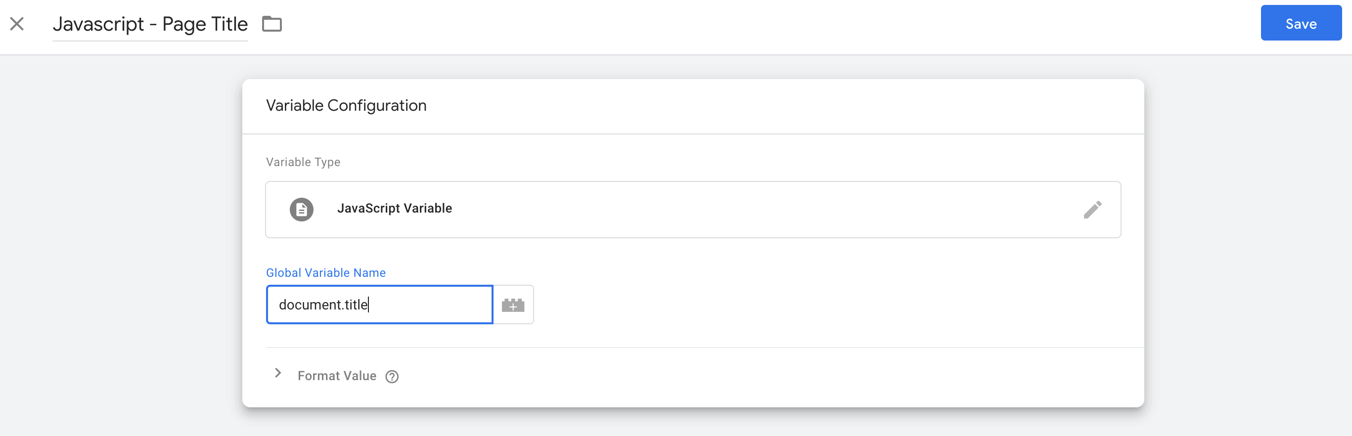"""Creating a user-defined variable called """"Javascript - Page Title"""" in Google Tag Manager"""