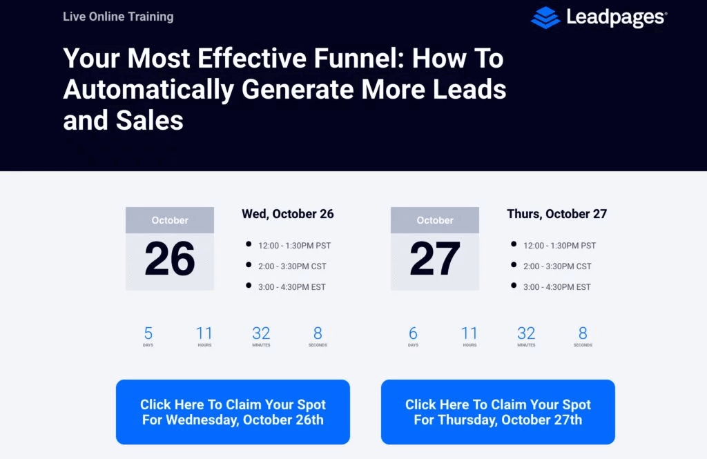 LeadPages is a company that makes good use of webinars.