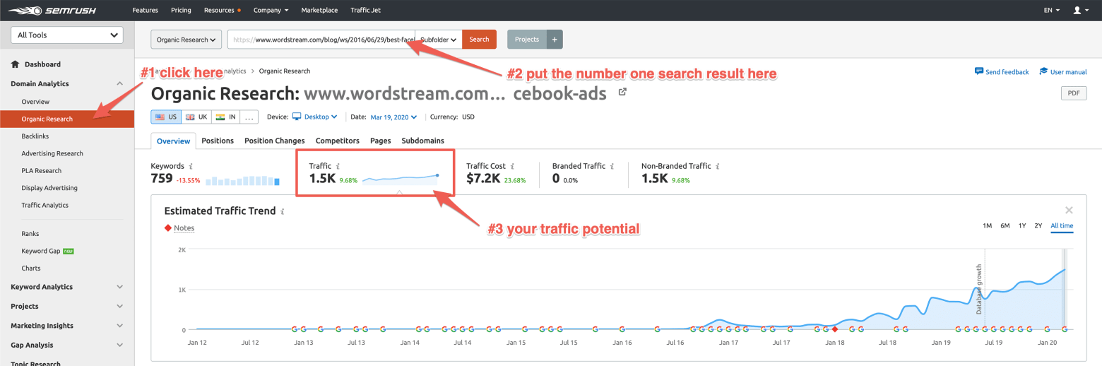 How to Find Traffic potential for your topic in SEMRush