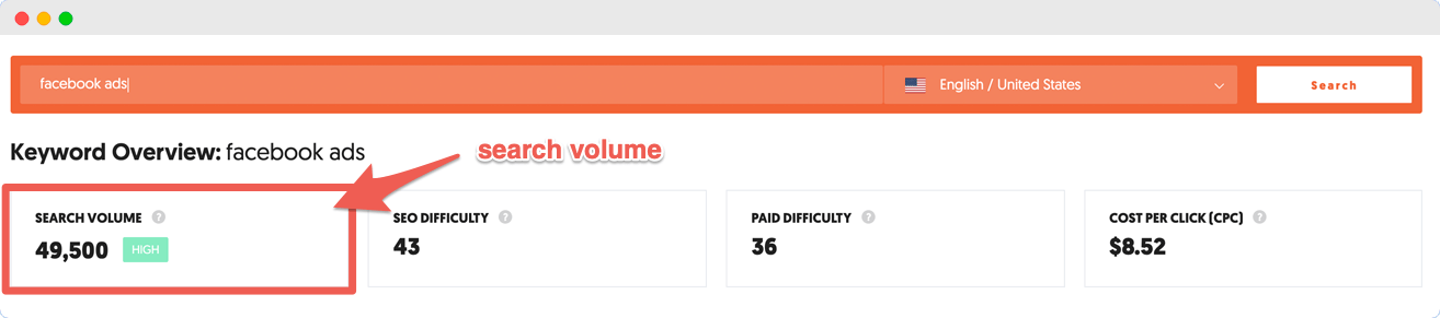 Ubersuggest can show you search volume for each keyword