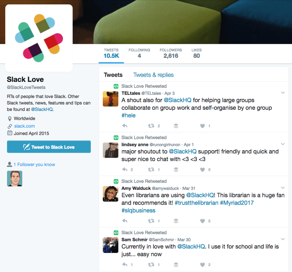 @SlackLoveTweets, retweets shout-outs from their users