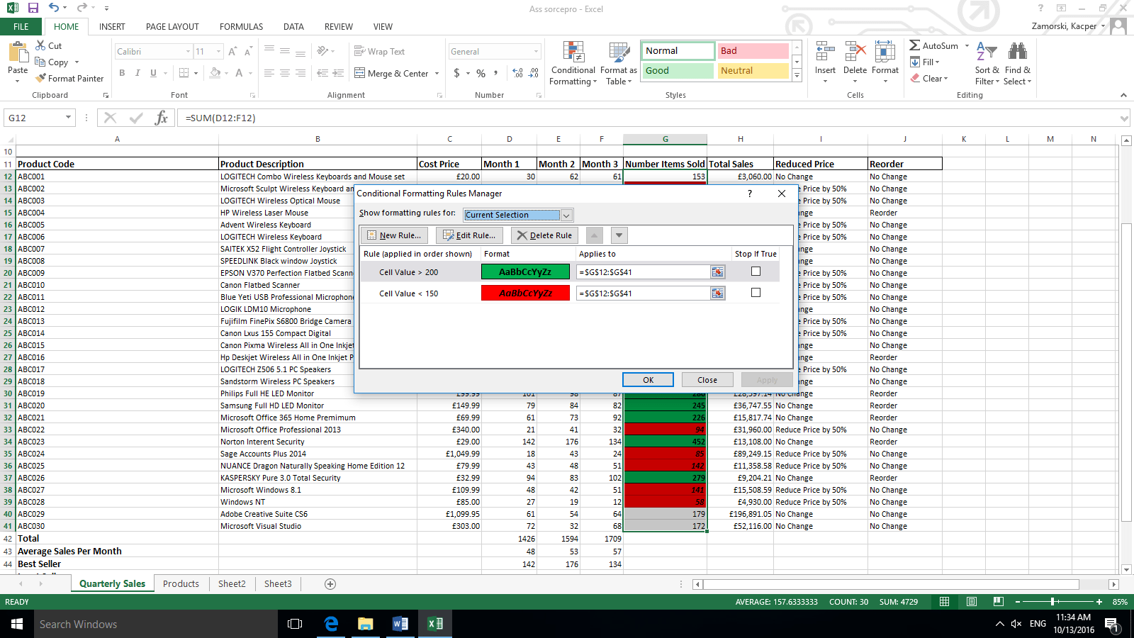 Conditional Formatting Excel User Guide