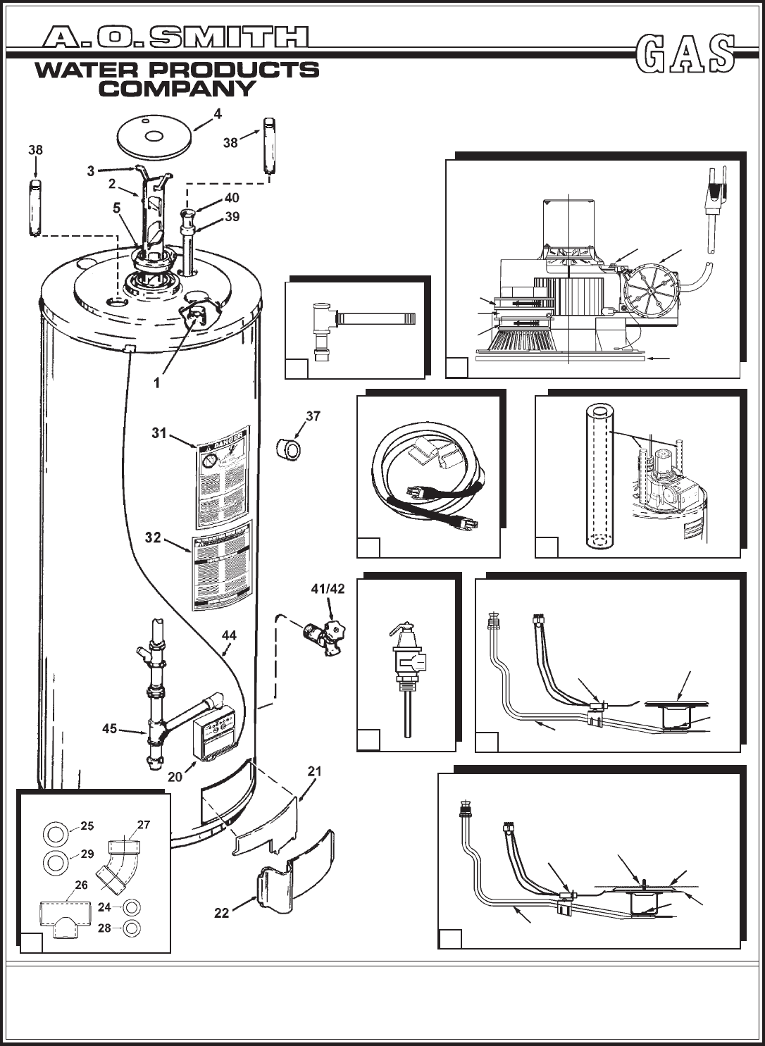 A O Smith 100 Series Parts List Gpsh Gpcr 40 50 101