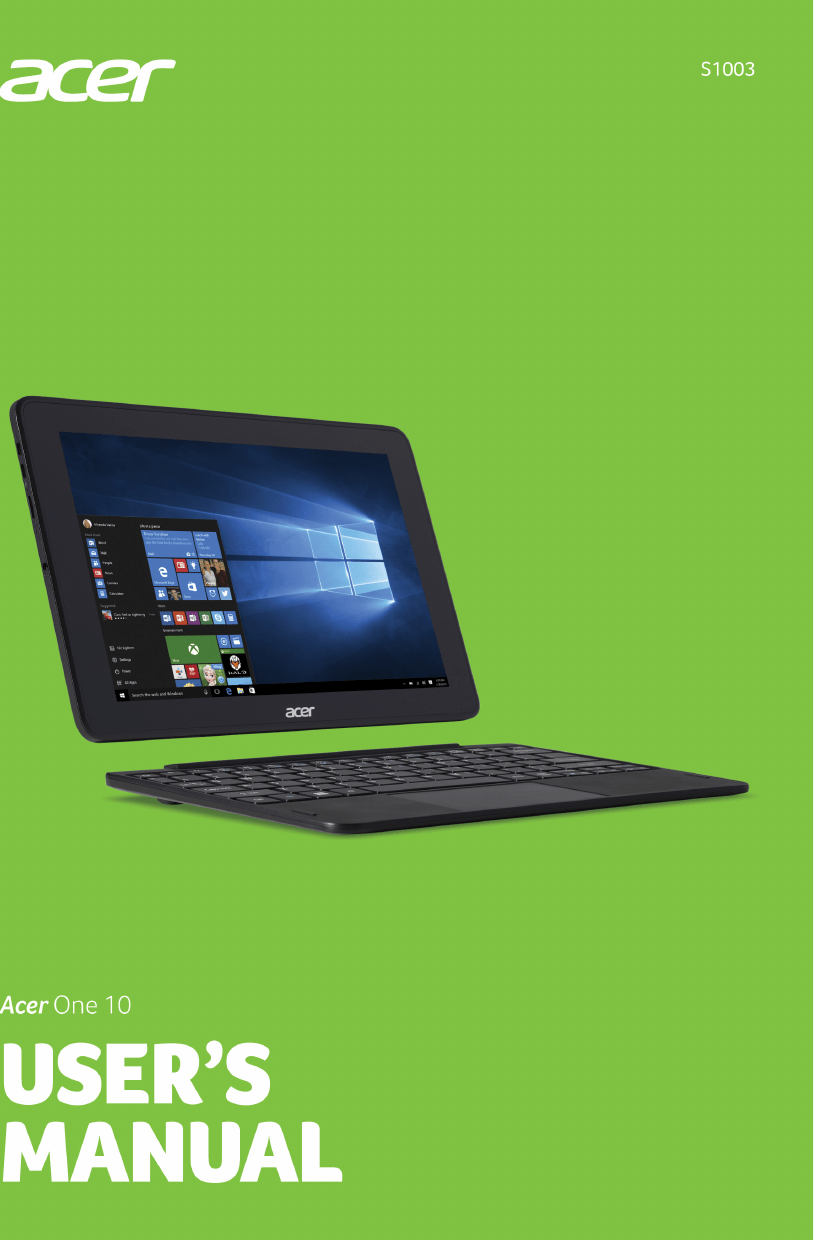 Acer orporated N16H1 Tablet Computer User Manual asS1003