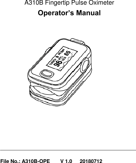 Aeon Technology A3 Pulse Oximeter User Manual