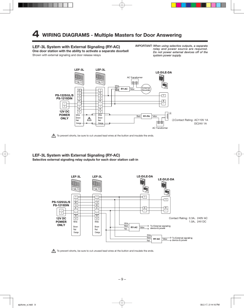 small resolution of  aiphone lef 3l users manual aiphone e on aiphone lef 5 wiring diagram access control systems