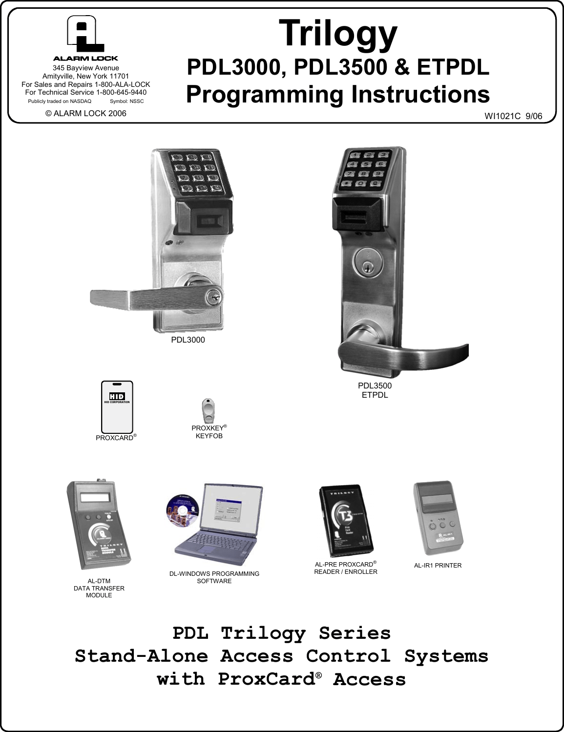 Alarm Lock Trilogy Pdl3000 Programming Instructions Manual