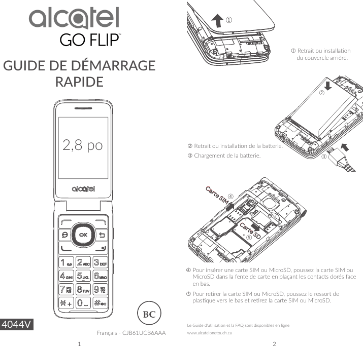 Alcatel Go flip 2 quick start guide for Bell french