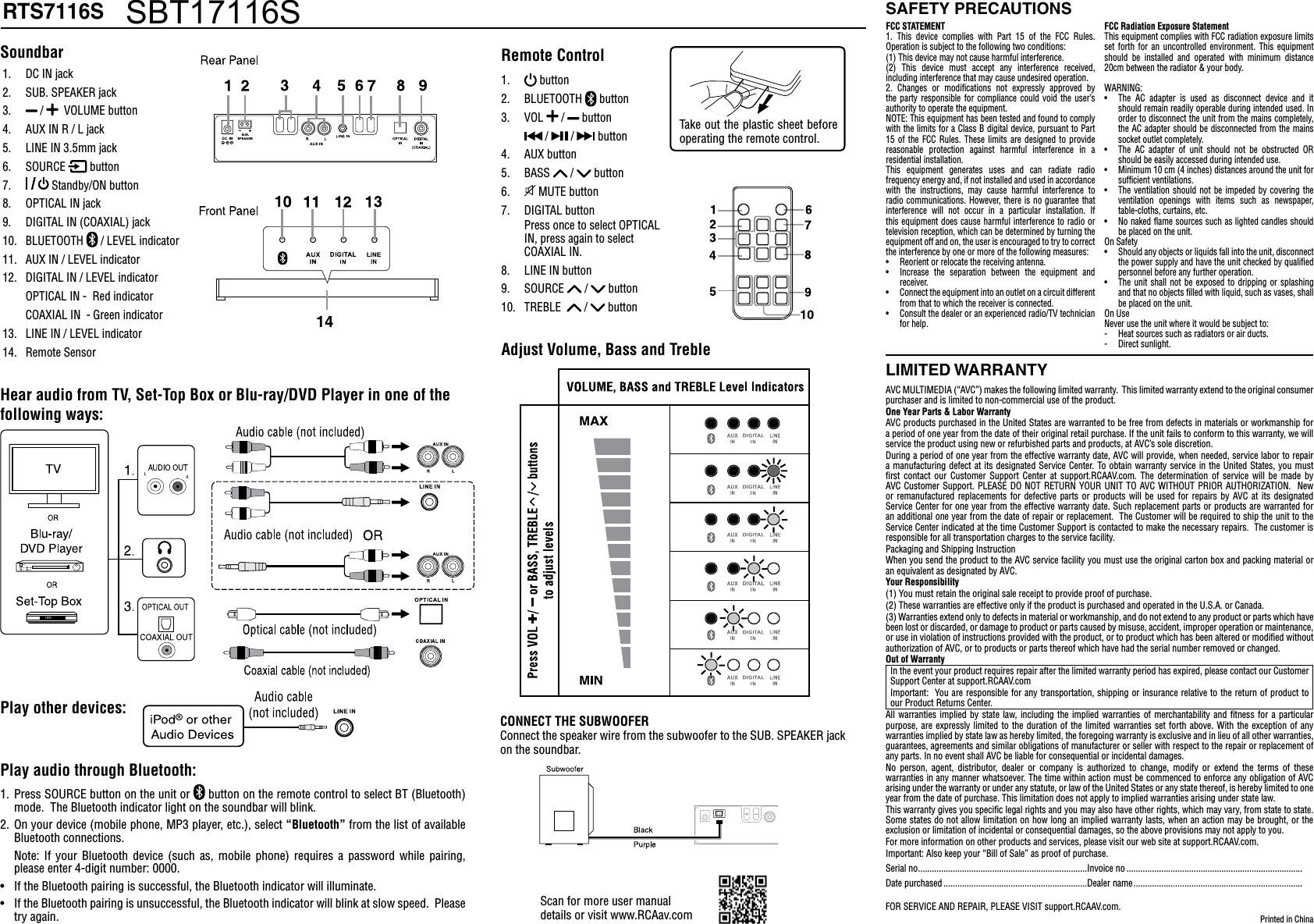 Alco Electronics RTS7116S Soundbar User Manual