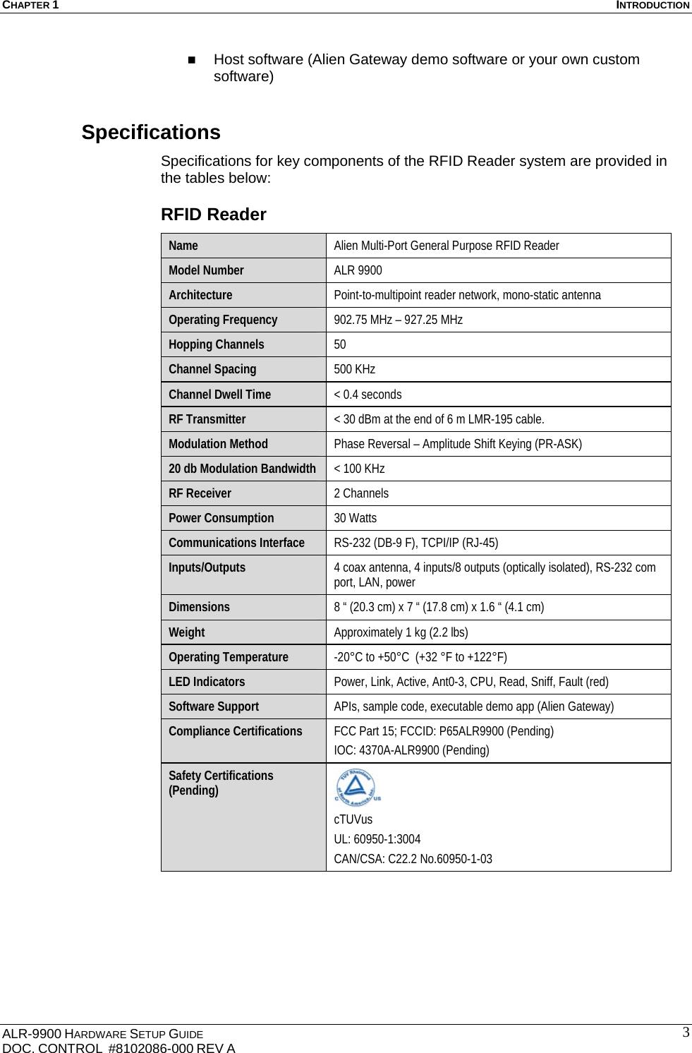 Alien Technology ALR9900 RFID Reader User Manual