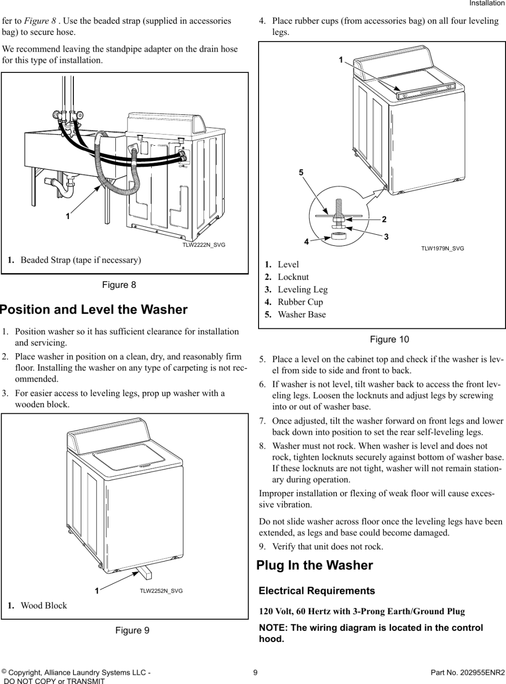 medium resolution of page 9 of 12 alliance awne82sp113tw01 installation instructions user manual washer manuals and guides