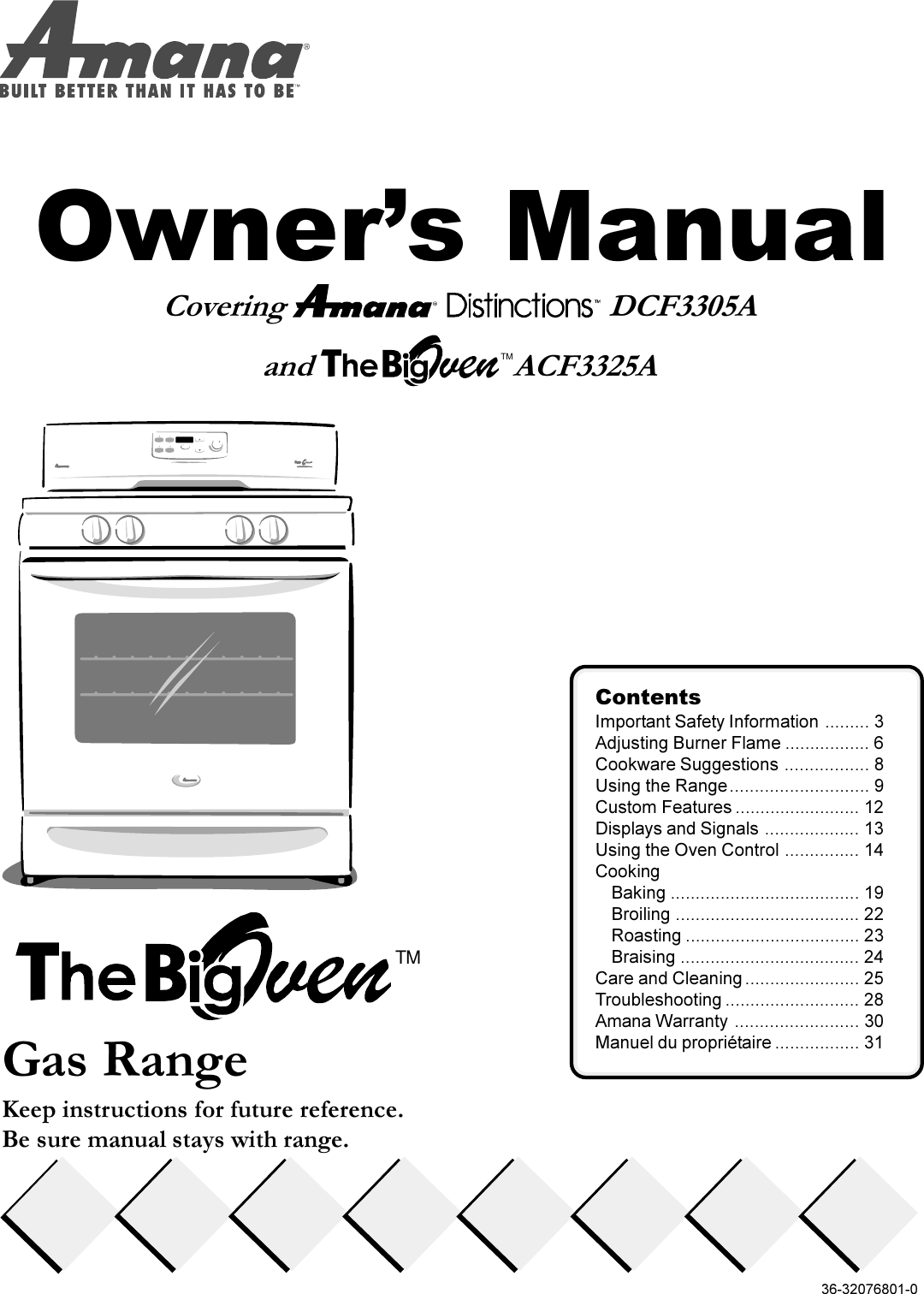Amana Oven Acf3325A Users Manual