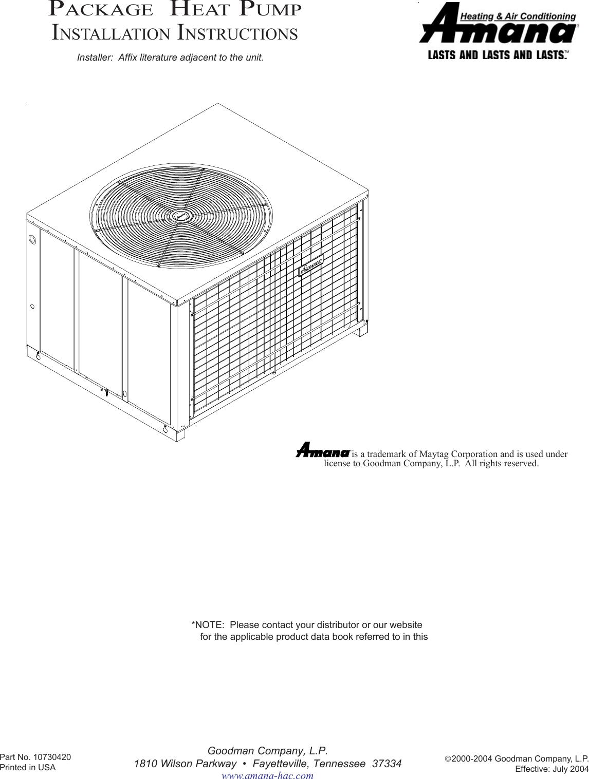 Amana Package Heat Pump Users Manual 10730418 Rev 3