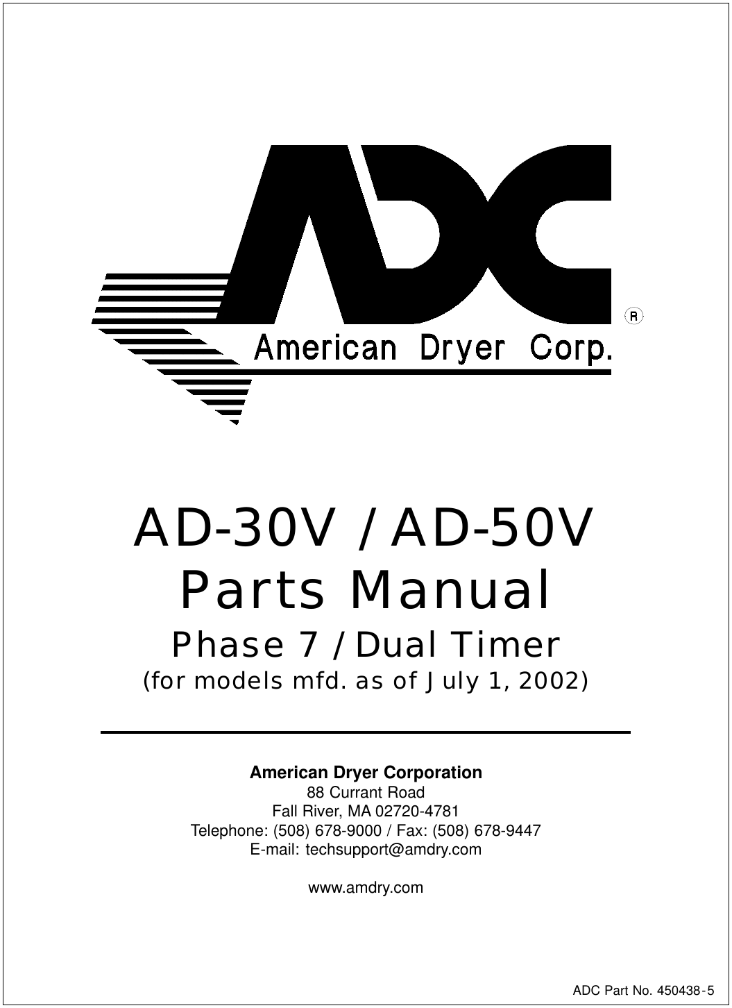 American Dryer Corp Ad 30V Users Manual AD24 Txt