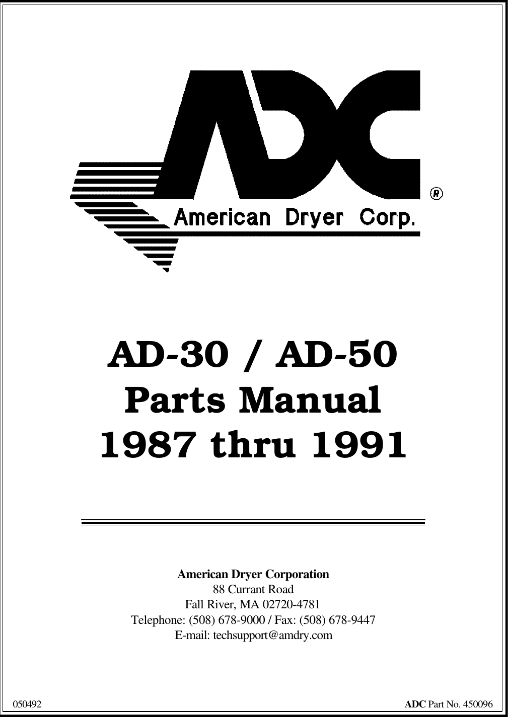 American Dryer Corp Ad 50 Users Manual C