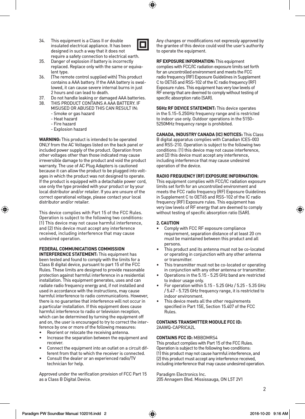 Anam Electronics PWSOUNDBAR SOUNDBAR User Manual
