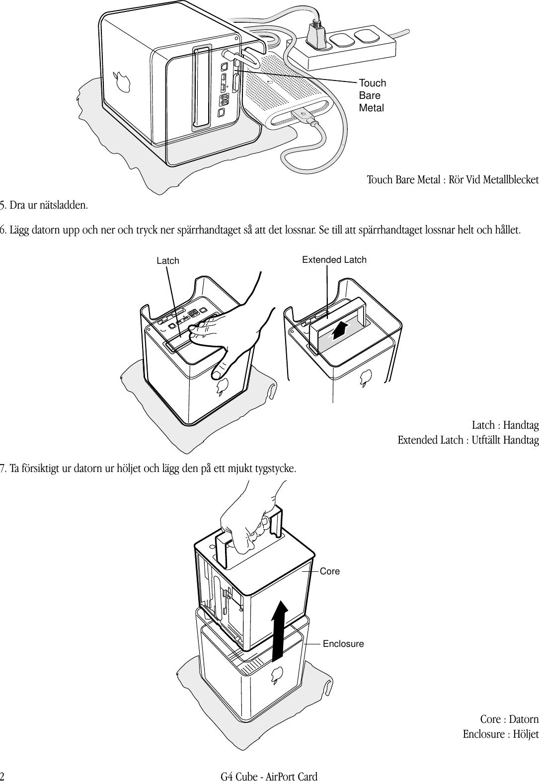 Apple Power Mac G4 (Cube) AirPort Card User Manual Air Port kort Instruktioner För Byte Airport.cube