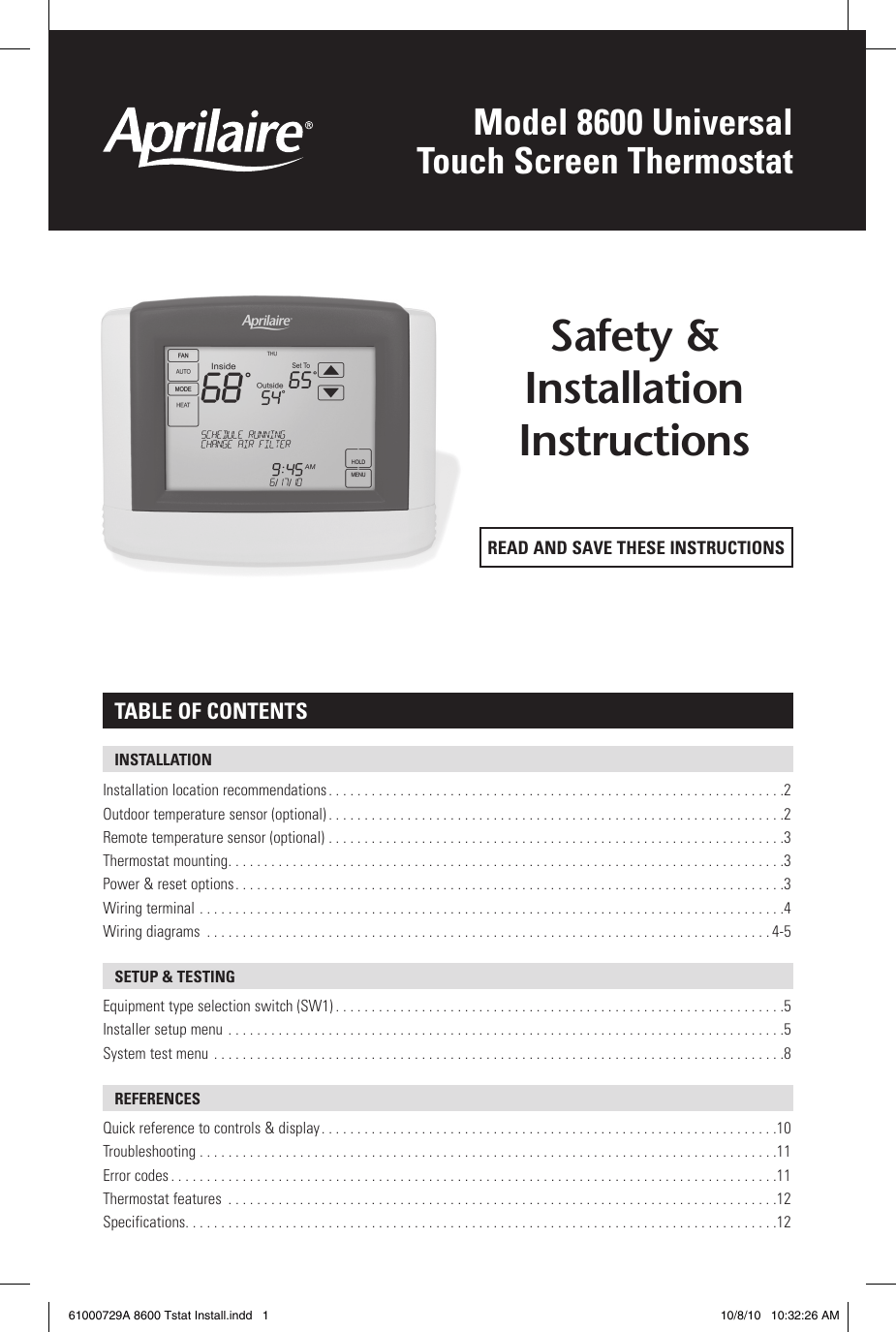 hight resolution of page 1 of 12 aprilaire aprilaire thermostat 8600 users manual
