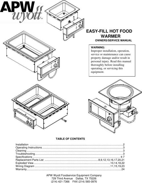 small resolution of apw wyott hot food warmer users manual apw wyott wiring diagrams
