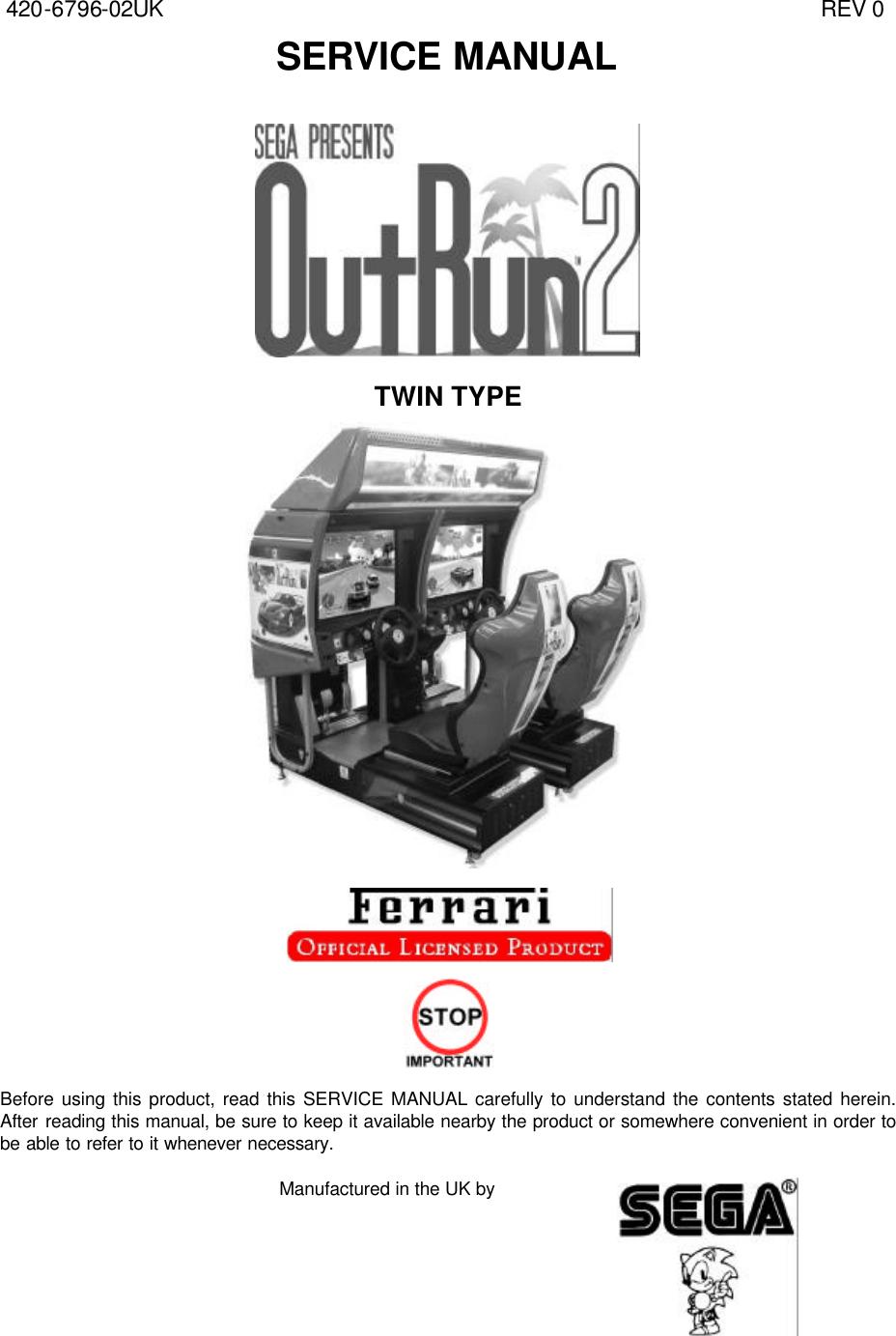 Arcade Outrun 2 Sp Twin Manual OUTRUN2_TWIN UK REV_0 User
