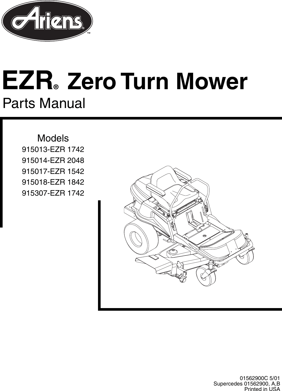 Ariens 915013 EZR 1742 Zero Turn Mower User Manual To The