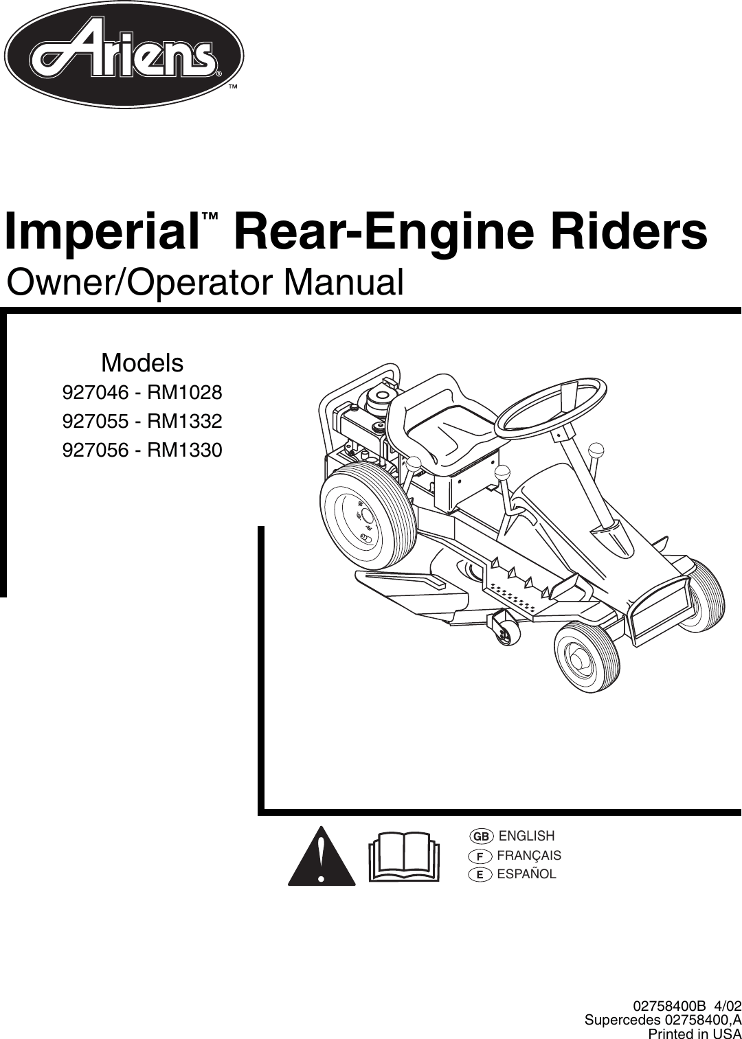 Ariens 927056 RM1330 Rear Engine Rider Owner/Operator